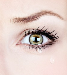 Crying woman, beautiful face with tear drops, facial expression, pain and grief concept